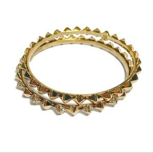 House of Harlow 1960 Gold Spike Stack Bangle Set